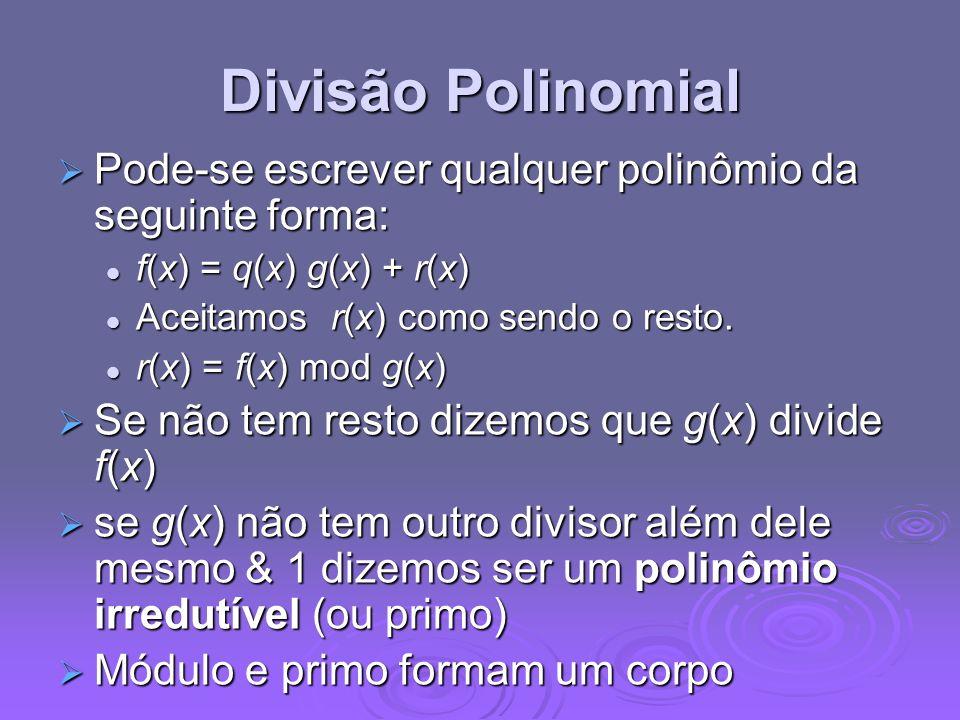 Divisão Polinomial Pode-se escrever qualquer polinômio da seguinte forma: Pode-se escrever qualquer polinômio da seguinte forma: f(x) = q(x) g(x) + r(