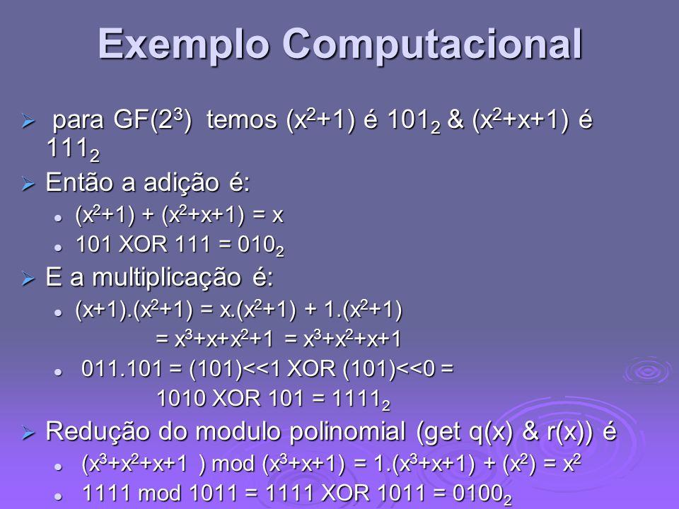 Exemplo Computacional para GF(2 3 ) temos (x 2 +1) é 101 2 & (x 2 +x+1) é 111 2 para GF(2 3 ) temos (x 2 +1) é 101 2 & (x 2 +x+1) é 111 2 Então a adiç