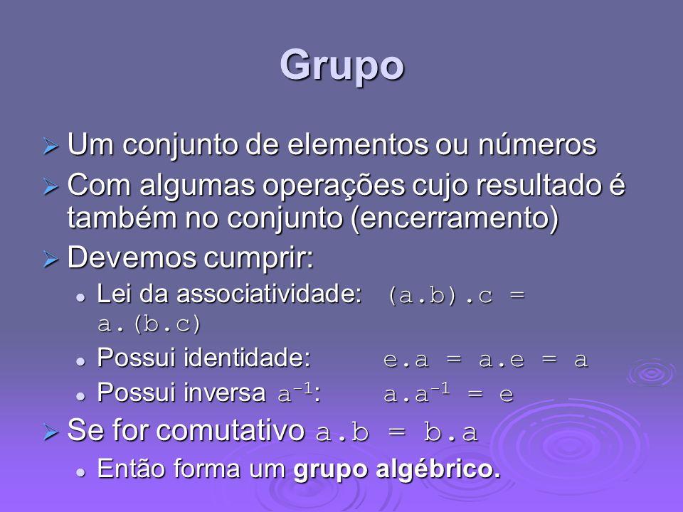 Grupo Um conjunto de elementos ou números Um conjunto de elementos ou números Com algumas operações cujo resultado é também no conjunto (encerramento)