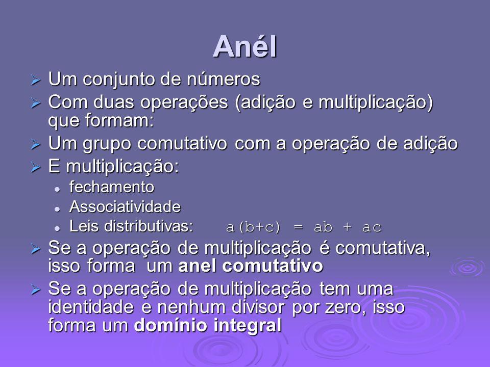 Anél Um conjunto de números Um conjunto de números Com duas operações (adição e multiplicação) que formam: Com duas operações (adição e multiplicação)
