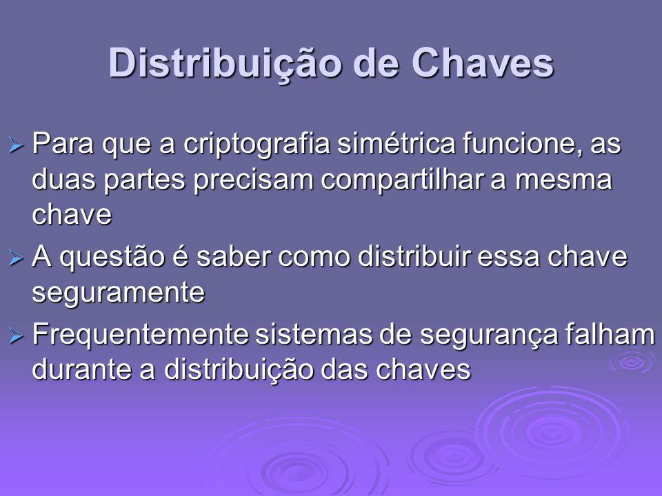 Distribuição de Chaves Para que a criptografia simétrica funcione, as duas partes precisam compartilhar a mesma chave Para que a criptografia simétric