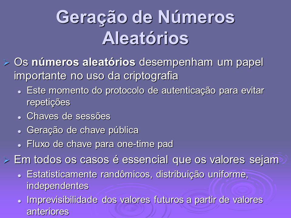 Geração de Números Aleatórios Os números aleatórios desempenham um papel importante no uso da criptografia Os números aleatórios desempenham um papel