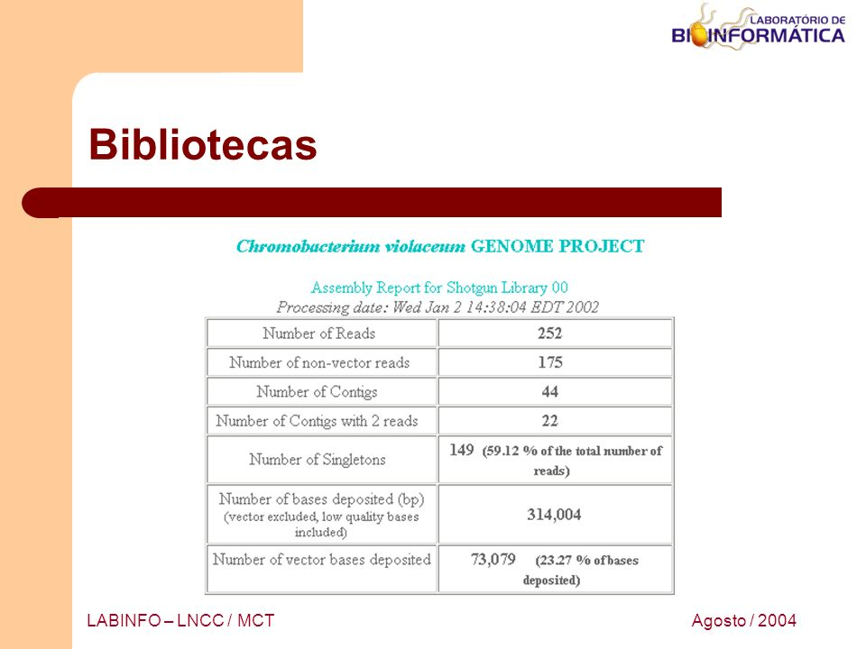 Agosto / 2004LABINFO – LNCC / MCT Bibliotecas