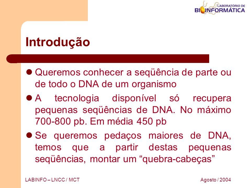 Agosto / 2004LABINFO – LNCC / MCT Introdução Queremos conhecer a seqüência de parte ou de todo o DNA de um organismo A tecnologia disponível só recupe