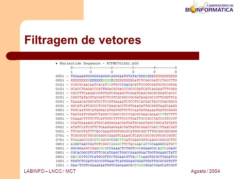 Agosto / 2004LABINFO – LNCC / MCT Filtragem de vetores