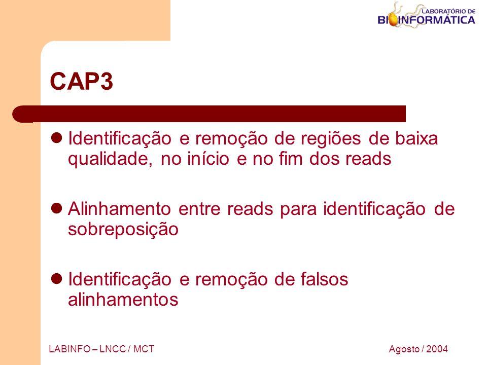 Agosto / 2004LABINFO – LNCC / MCT CAP3 Identificação e remoção de regiões de baixa qualidade, no início e no fim dos reads Alinhamento entre reads par