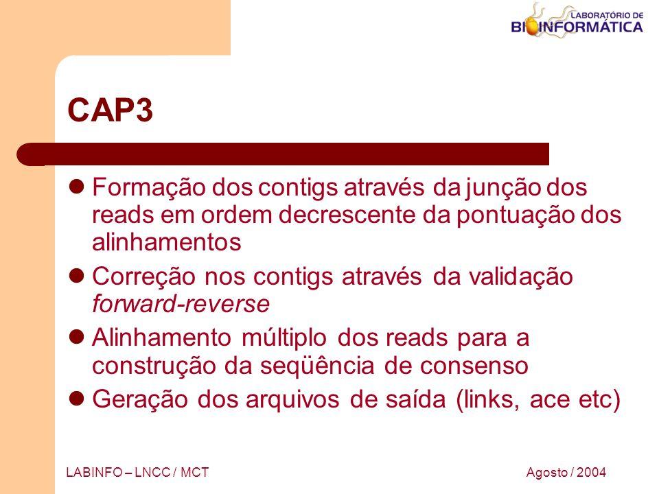 Agosto / 2004LABINFO – LNCC / MCT CAP3 Formação dos contigs através da junção dos reads em ordem decrescente da pontuação dos alinhamentos Correção no