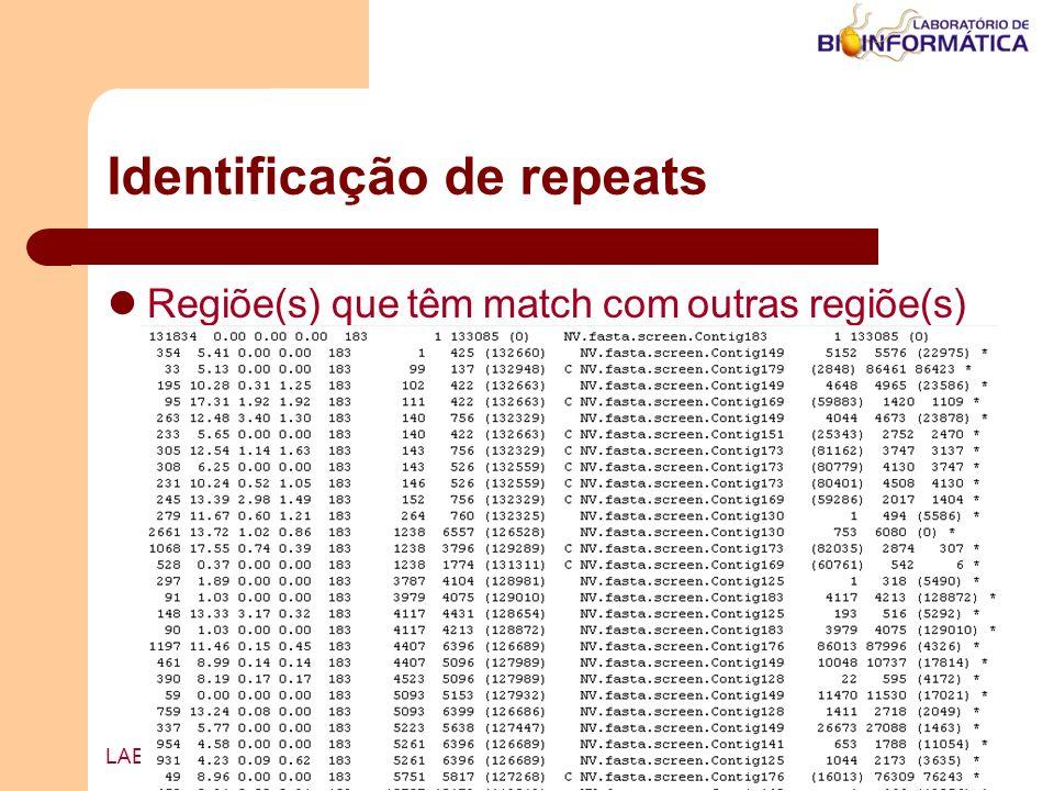 Agosto / 2004LABINFO – LNCC / MCT Identificação de repeats Regiõe(s) que têm match com outras regiõe(s)