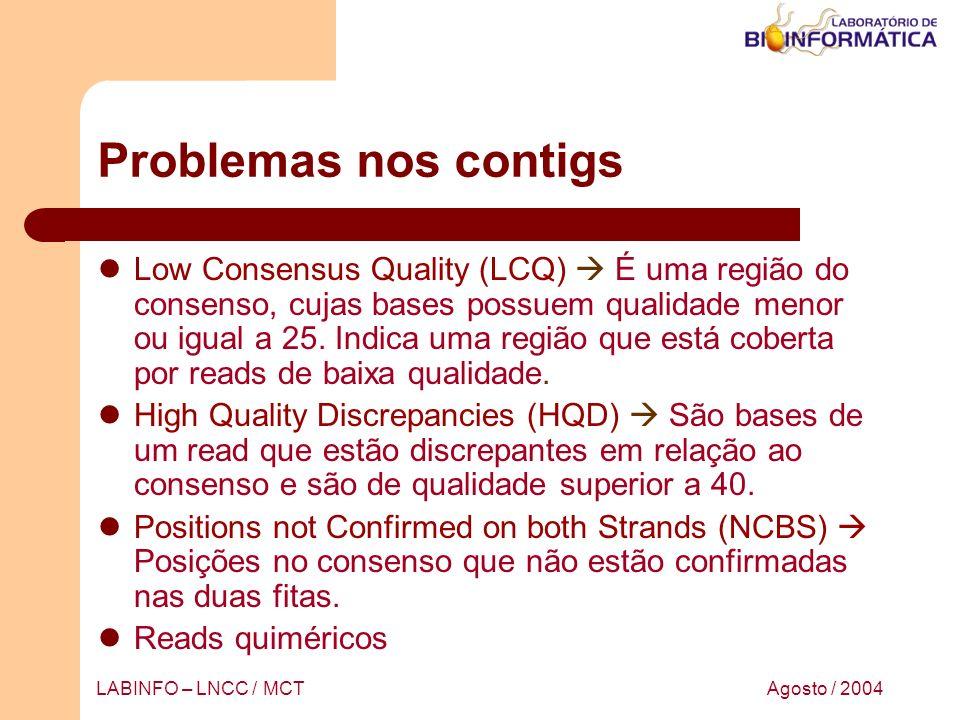 Agosto / 2004LABINFO – LNCC / MCT Problemas nos contigs Low Consensus Quality (LCQ) É uma região do consenso, cujas bases possuem qualidade menor ou i