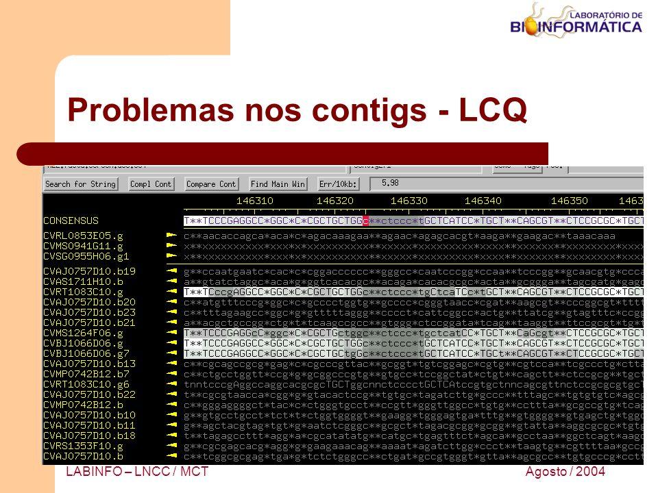Agosto / 2004LABINFO – LNCC / MCT Problemas nos contigs - LCQ