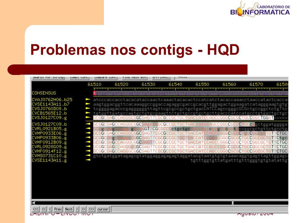 Agosto / 2004LABINFO – LNCC / MCT Problemas nos contigs - HQD