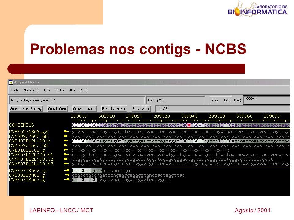 Agosto / 2004LABINFO – LNCC / MCT Problemas nos contigs - NCBS