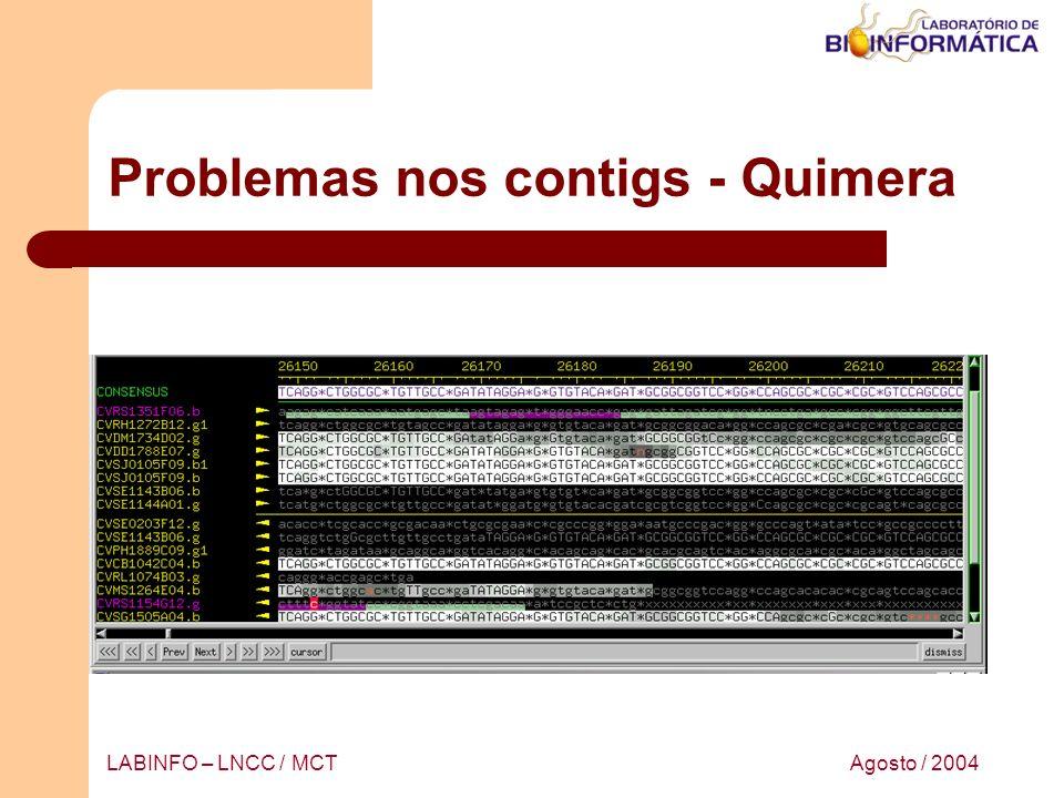 Agosto / 2004LABINFO – LNCC / MCT Problemas nos contigs - Quimera