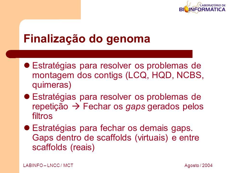 Agosto / 2004LABINFO – LNCC / MCT Finalização do genoma Estratégias para resolver os problemas de montagem dos contigs (LCQ, HQD, NCBS, quimeras) Estr