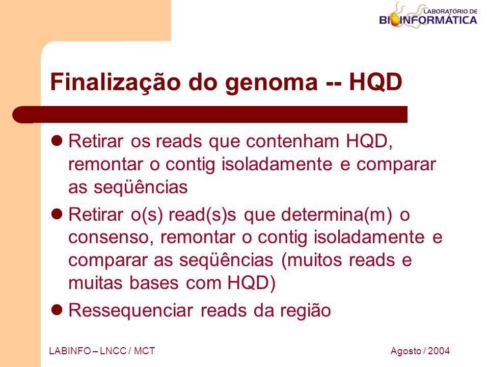 Agosto / 2004LABINFO – LNCC / MCT Finalização do genoma -- HQD Retirar os reads que contenham HQD, remontar o contig isoladamente e comparar as seqüên