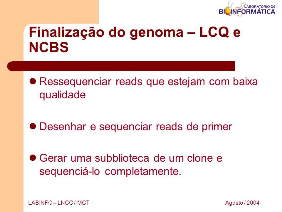 Agosto / 2004LABINFO – LNCC / MCT Finalização do genoma – LCQ e NCBS Ressequenciar reads que estejam com baixa qualidade Desenhar e sequenciar reads d