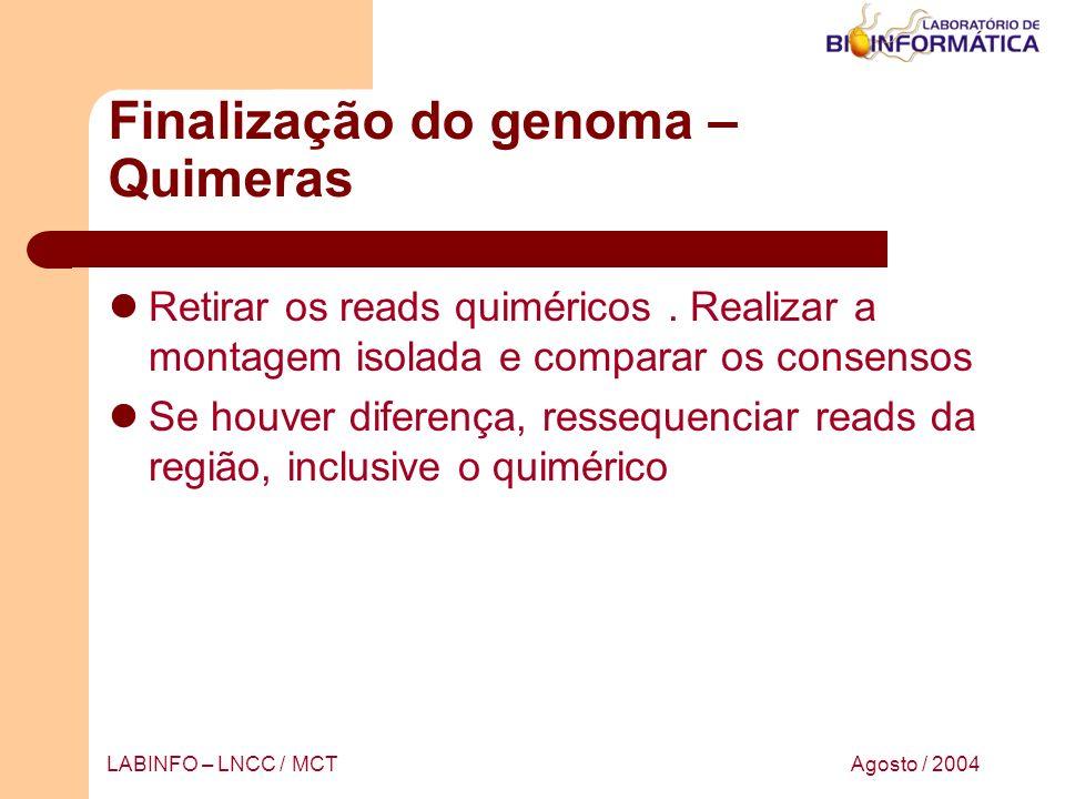Agosto / 2004LABINFO – LNCC / MCT Finalização do genoma – Quimeras Retirar os reads quiméricos. Realizar a montagem isolada e comparar os consensos Se