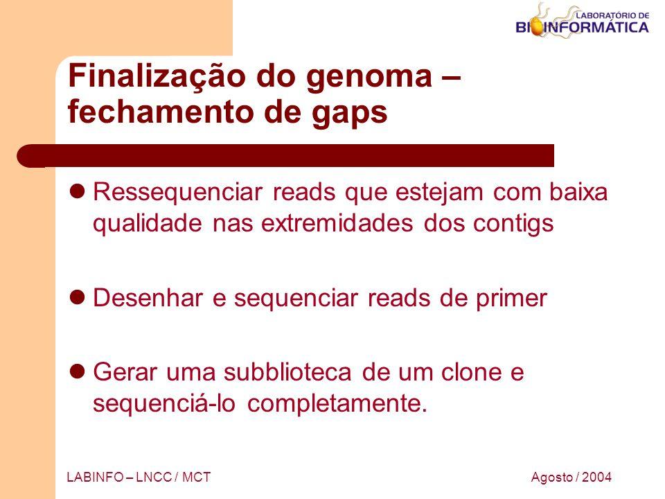 Agosto / 2004LABINFO – LNCC / MCT Finalização do genoma – fechamento de gaps Ressequenciar reads que estejam com baixa qualidade nas extremidades dos