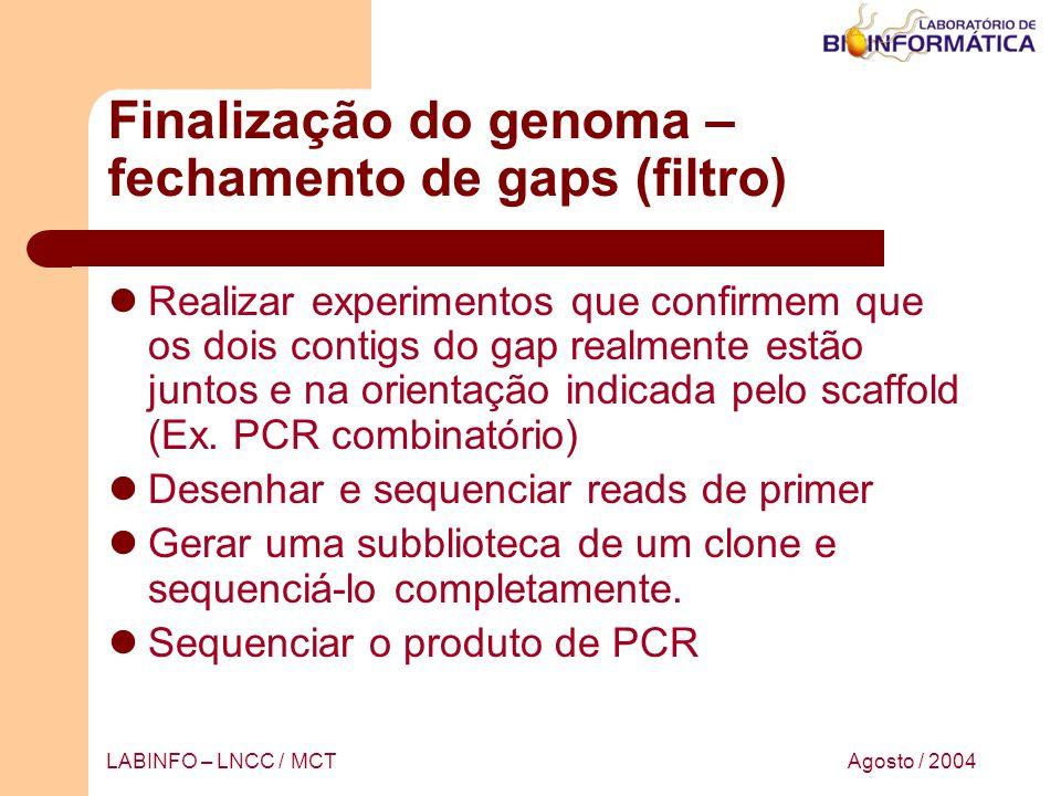 Agosto / 2004LABINFO – LNCC / MCT Finalização do genoma – fechamento de gaps (filtro) Realizar experimentos que confirmem que os dois contigs do gap r