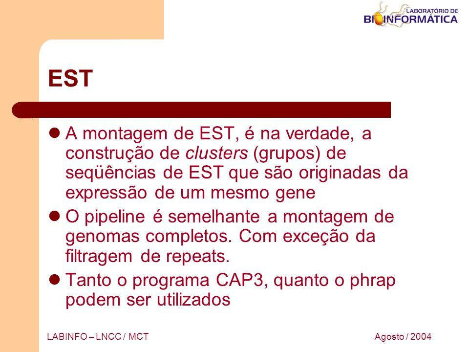 Agosto / 2004LABINFO – LNCC / MCT EST A montagem de EST, é na verdade, a construção de clusters (grupos) de seqüências de EST que são originadas da ex