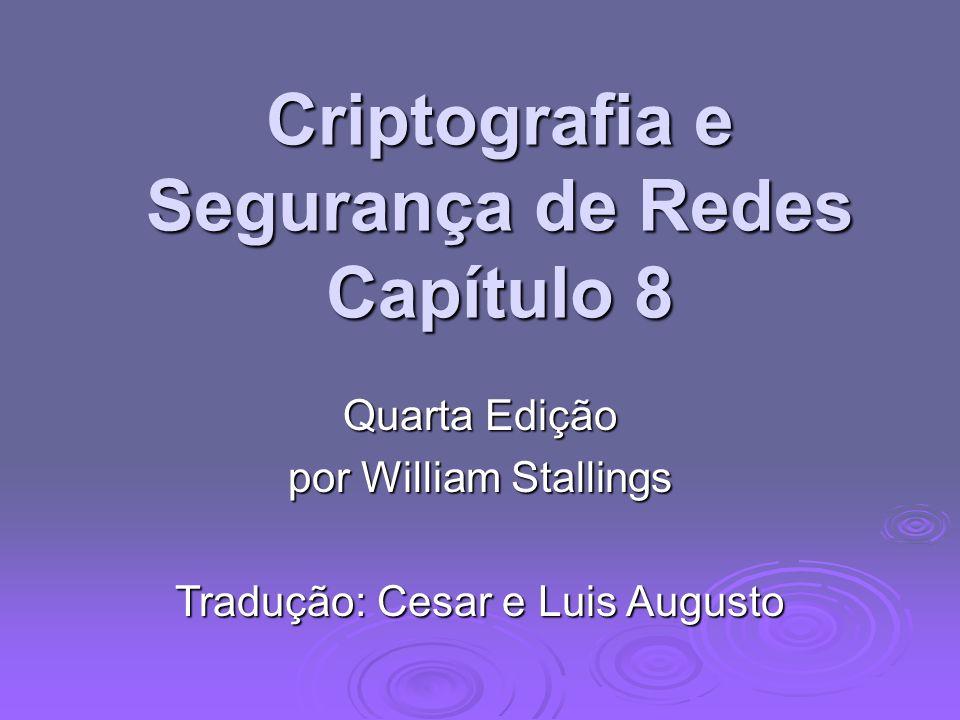 Criptografia e Segurança de Redes Capítulo 8 Quarta Edição por William Stallings Tradução: Cesar e Luis Augusto