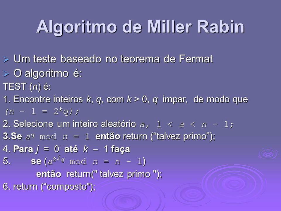 Algoritmo de Miller Rabin Um teste baseado no teorema de Fermat Um teste baseado no teorema de Fermat O algoritmo é: O algoritmo é: TEST (n) é: 1. Enc