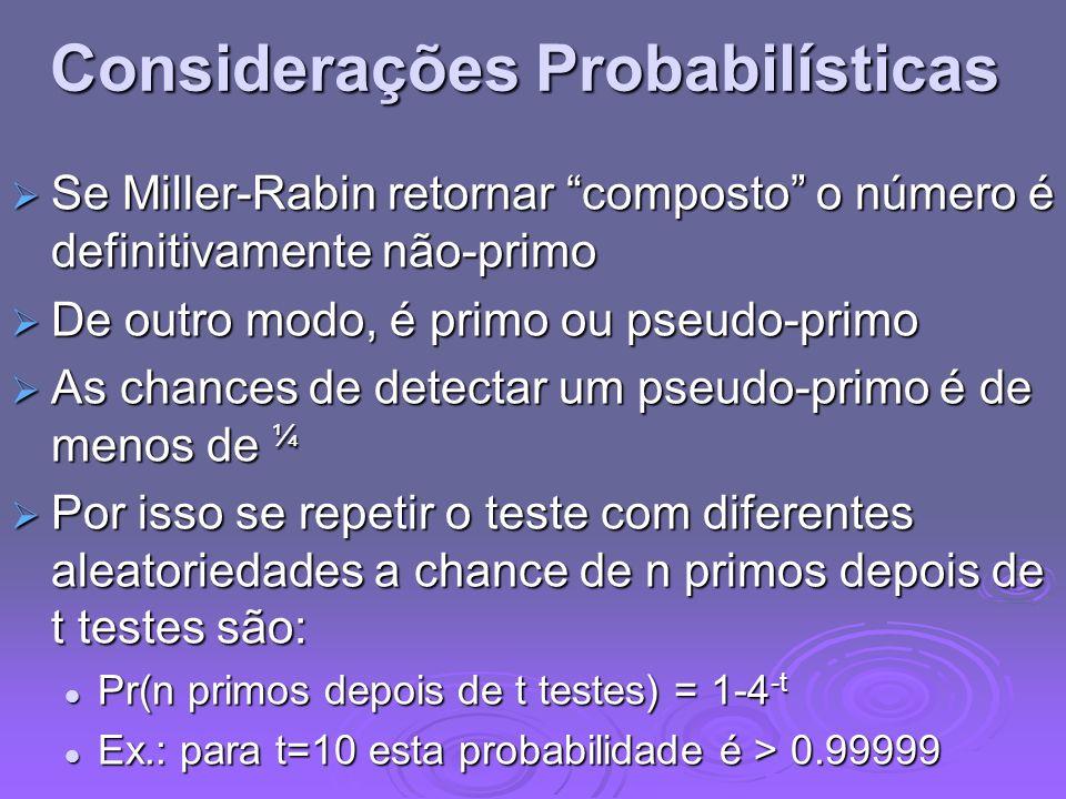 Considerações Probabilísticas Se Miller-Rabin retornar composto o número é definitivamente não-primo Se Miller-Rabin retornar composto o número é defi