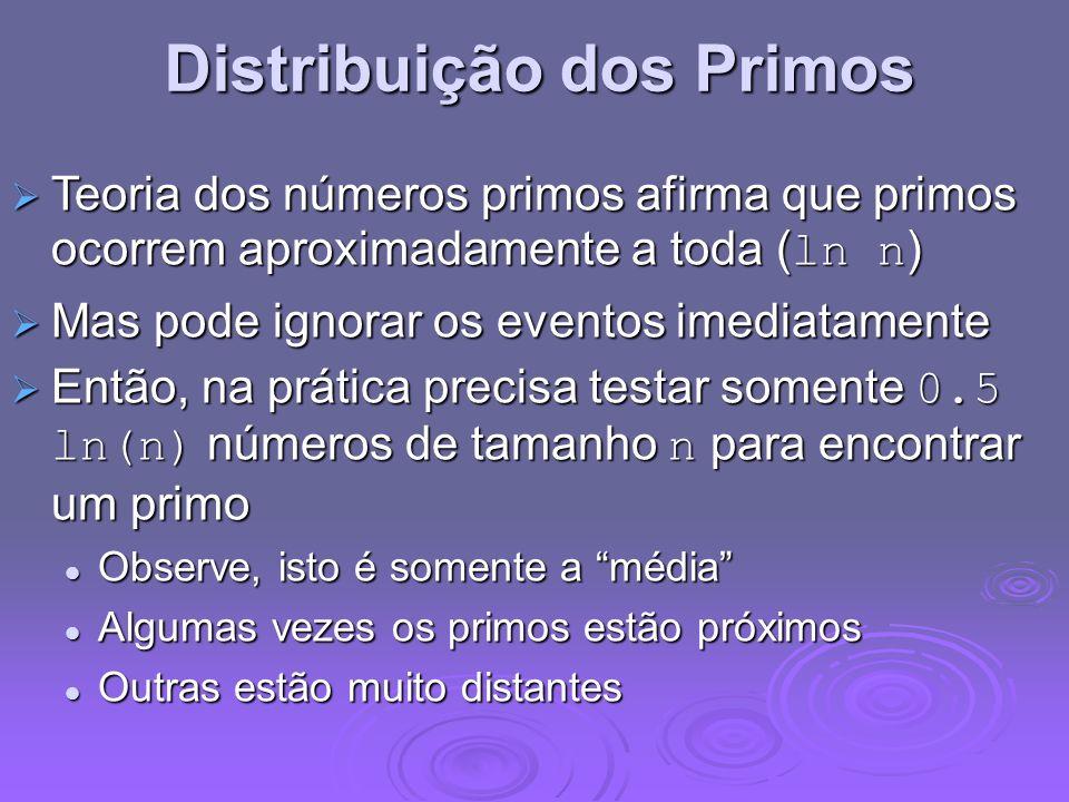 Distribuição dos Primos Teoria dos números primos afirma que primos ocorrem aproximadamente a toda ( ln n ) Teoria dos números primos afirma que primo