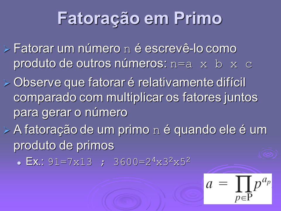 Fatoração em Primo Fatorar um número n é escrevê-lo como produto de outros números: n=a x b x c Fatorar um número n é escrevê-lo como produto de outro