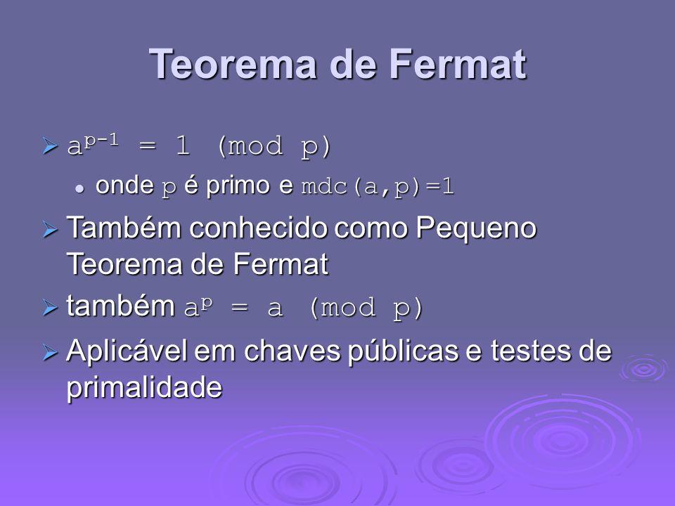 Teorema de Fermat a p-1 = 1 (mod p) a p-1 = 1 (mod p) onde p é primo e mdc(a,p)=1 onde p é primo e mdc(a,p)=1 Também conhecido como Pequeno Teorema de