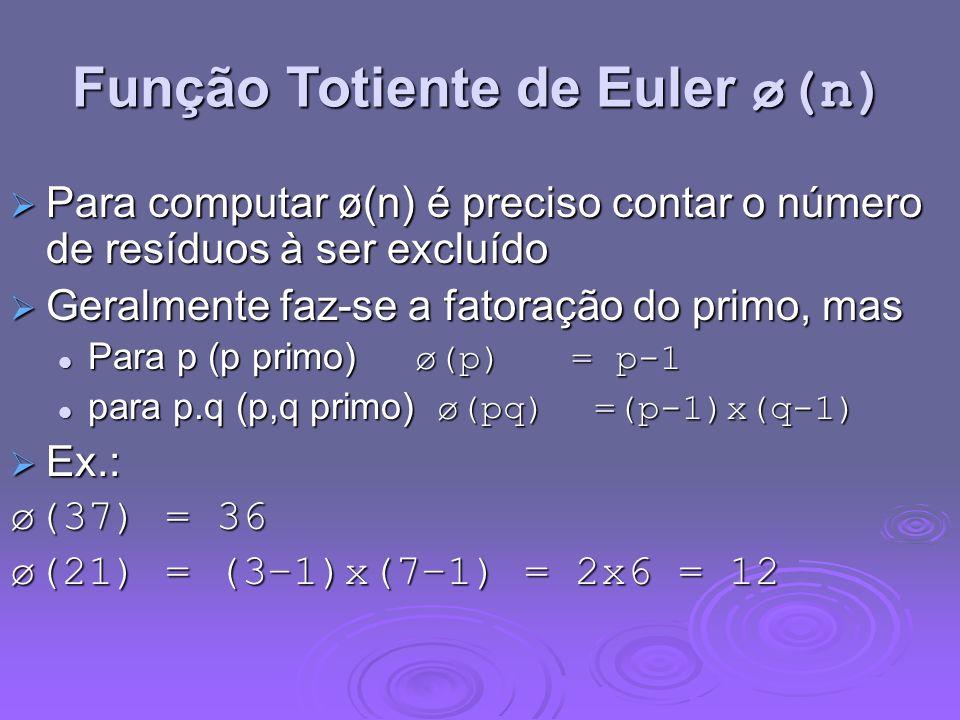 Função Totiente de Euler ø(n) Para computar ø(n) é preciso contar o número de resíduos à ser excluído Para computar ø(n) é preciso contar o número de