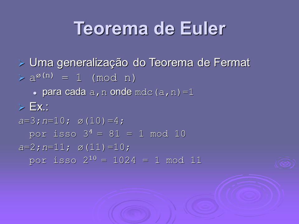 Teorema de Euler Uma generalização do Teorema de Fermat Uma generalização do Teorema de Fermat a ø(n) = 1 (mod n) a ø(n) = 1 (mod n) para cada a,n ond