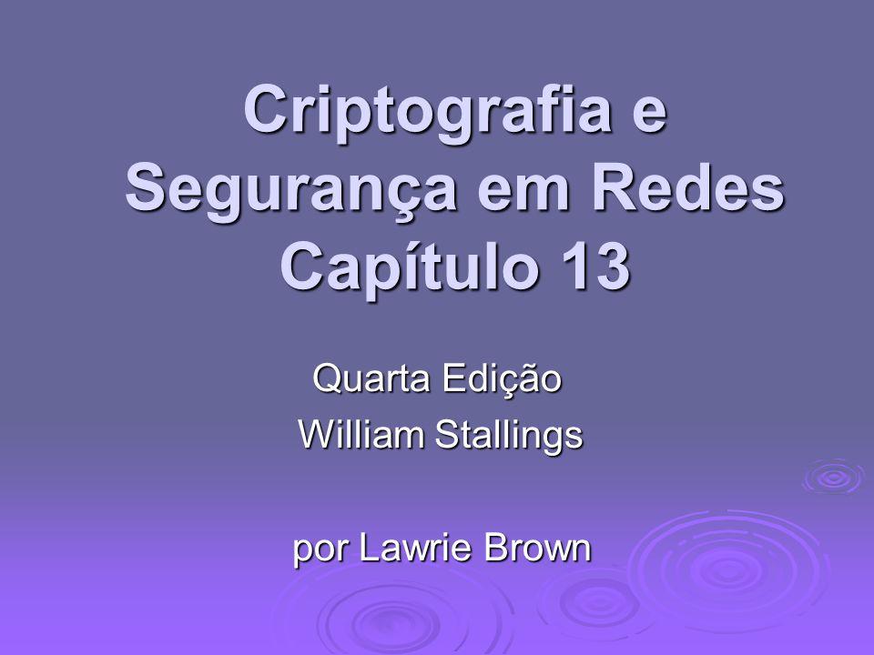 Criptografia e Segurança em Redes Capítulo 13 Quarta Edição William Stallings William Stallings por Lawrie Brown por Lawrie Brown