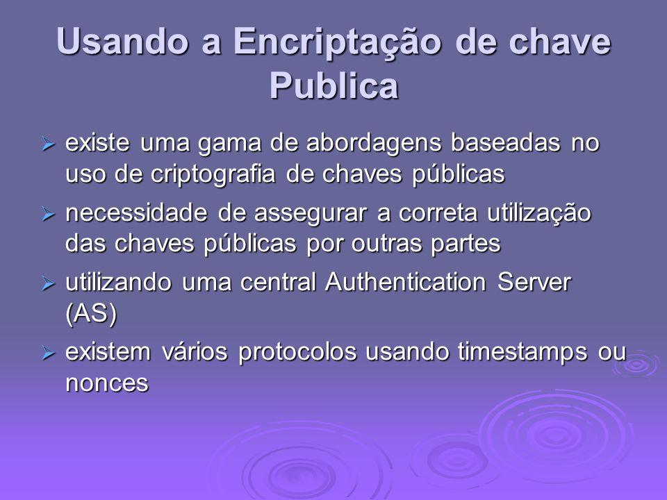 Usando a Encriptação de chave Publica existe uma gama de abordagens baseadas no uso de criptografia de chaves públicas existe uma gama de abordagens b