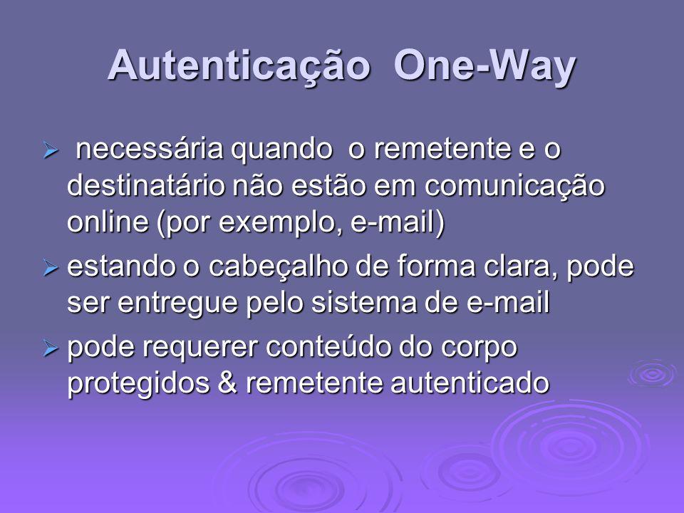 Autenticação One-Way necessária quando o remetente e o destinatário não estão em comunicação online (por exemplo, e-mail) necessária quando o remetent
