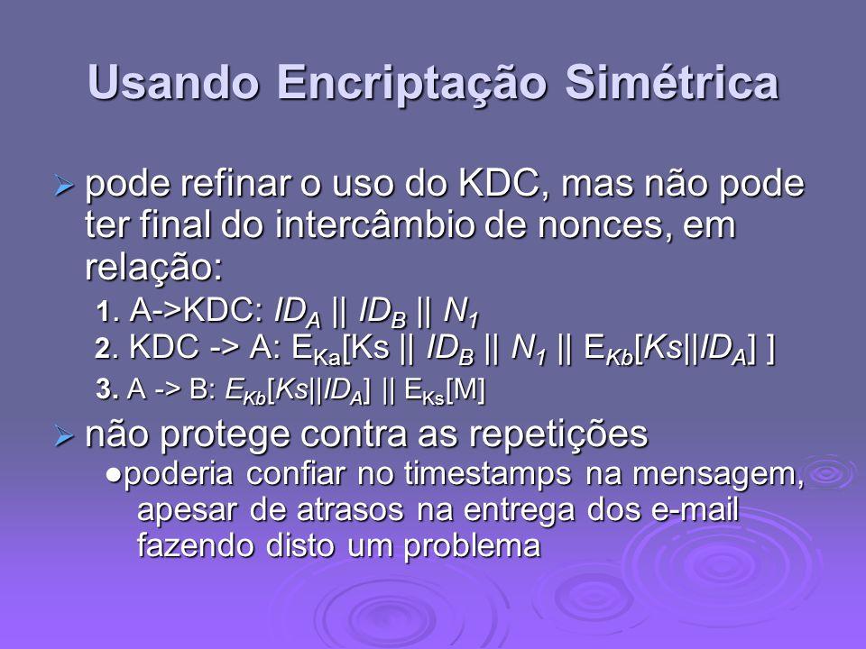 Usando Encriptação Simétrica pode refinar o uso do KDC, mas não pode ter final do intercâmbio de nonces, em relação: 1. A->KDC: ID A || ID B || N 1 2.