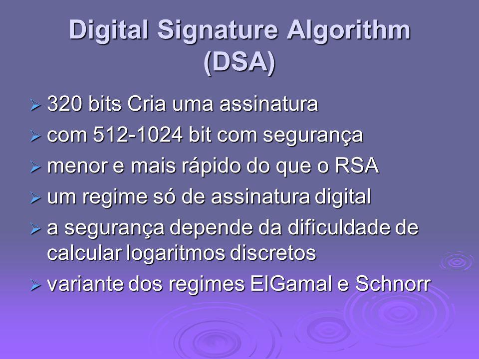 Digital Signature Algorithm (DSA) 320 bits Cria uma assinatura 320 bits Cria uma assinatura com 512-1024 bit com segurança com 512-1024 bit com segura