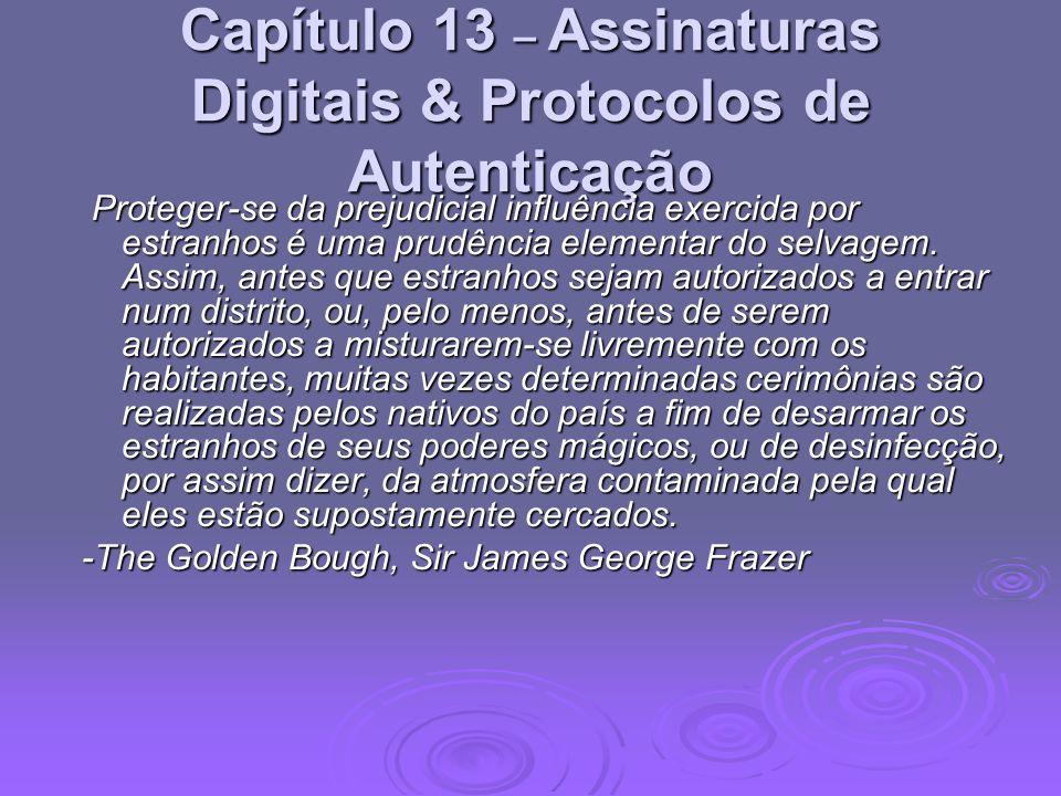 Capítulo 13 – Assinaturas Digitais & Protocolos de Autenticação Proteger-se da prejudicial influência exercida por estranhos é uma prudência elementar