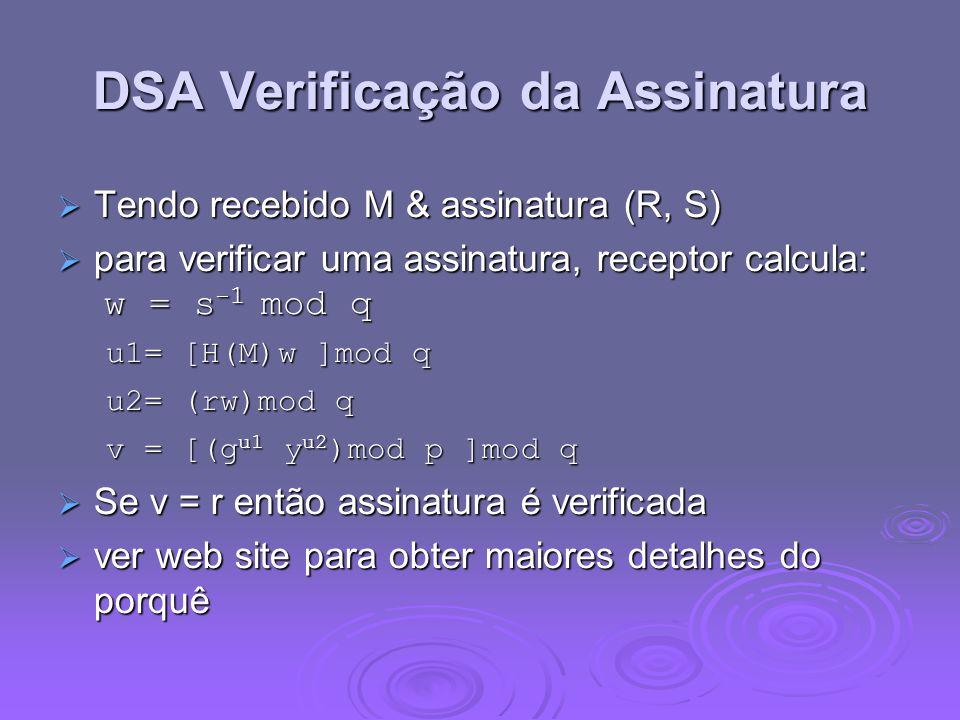 DSA Verificação da Assinatura Tendo recebido M & assinatura (R, S) Tendo recebido M & assinatura (R, S) para verificar uma assinatura, receptor calcul