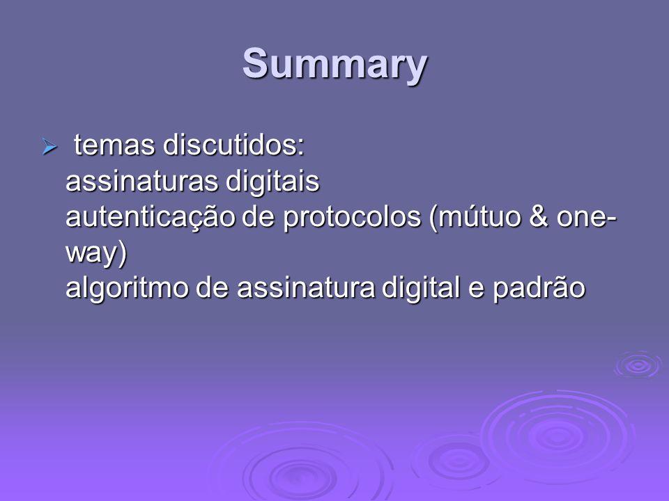 Summary temas discutidos: assinaturas digitais autenticação de protocolos (mútuo & one- way) algoritmo de assinatura digital e padrão temas discutidos