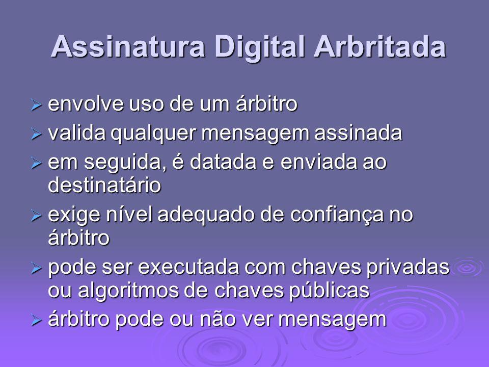 Assinatura Digital Arbritada Assinatura Digital Arbritada envolve uso de um árbitro envolve uso de um árbitro valida qualquer mensagem assinada valida