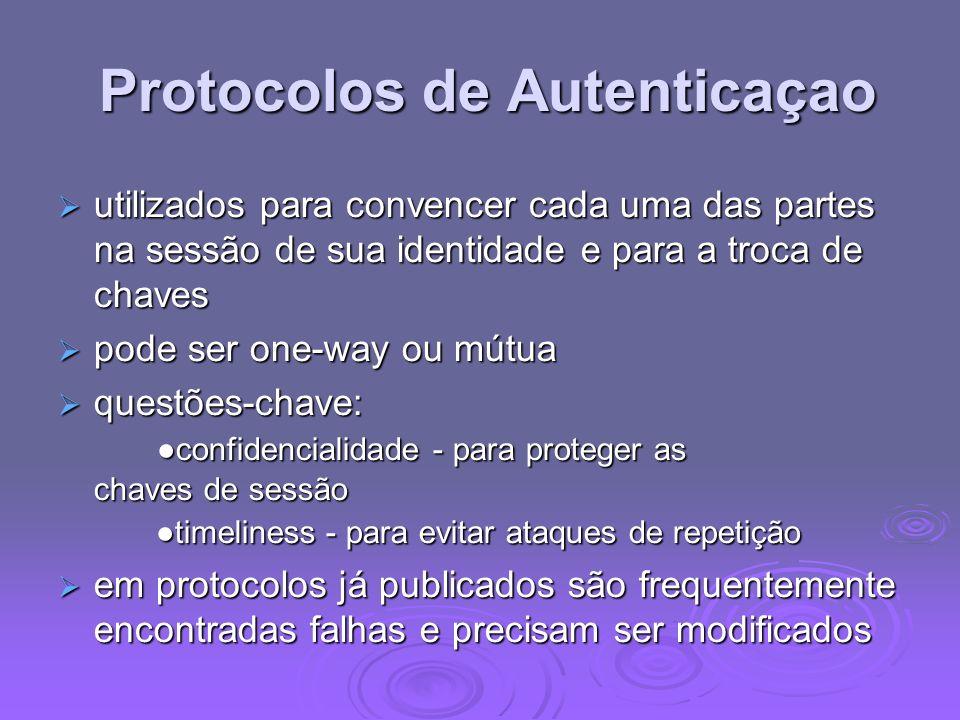 Protocolos de Autenticaçao Protocolos de Autenticaçao utilizados para convencer cada uma das partes na sessão de sua identidade e para a troca de chav
