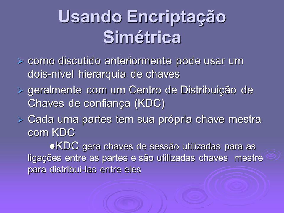 Needham-Schroeder Protocol Protocolo para distribuição de chaves de sessão entre A e B mediada pelo KDC O resumo do protocolo é: Protocolo para distribuição de chaves de sessão entre A e B mediada pelo KDC O resumo do protocolo é: 1.