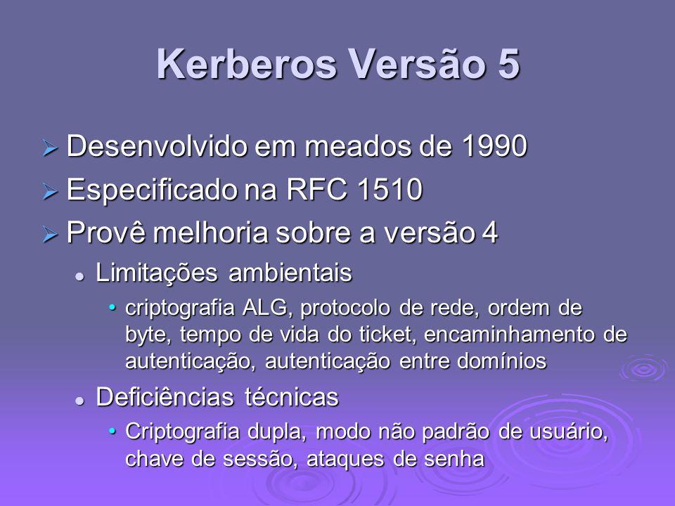 Kerberos Versão 5 Desenvolvido em meados de 1990 Desenvolvido em meados de 1990 Especificado na RFC 1510 Especificado na RFC 1510 Provê melhoria sobre