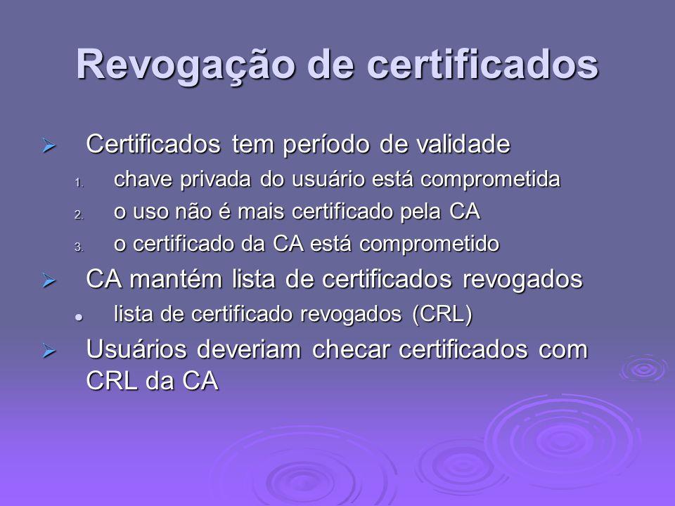 Revogação de certificados Certificados tem período de validade Certificados tem período de validade 1. chave privada do usuário está comprometida 2. o