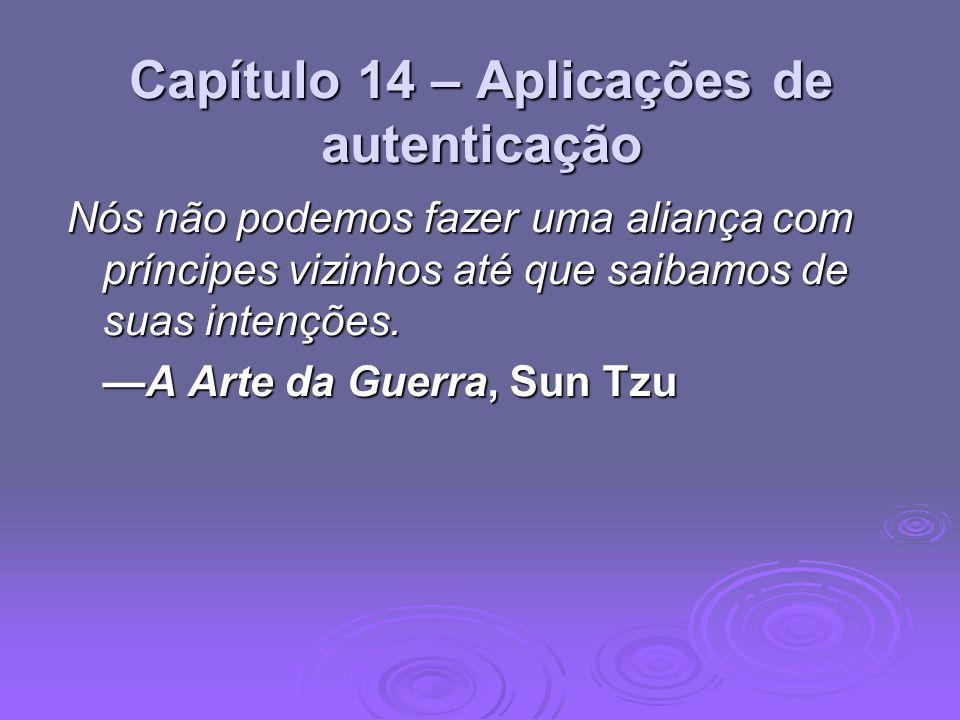 Capítulo 14 – Aplicações de autenticação Nós não podemos fazer uma aliança com príncipes vizinhos até que saibamos de suas intenções. A Arte da Guerra
