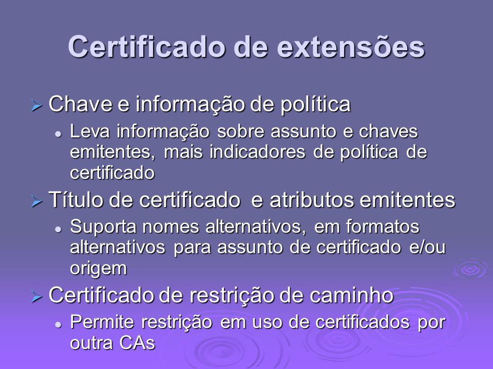 Certificado de extensões Chave e informação de política Chave e informação de política Leva informação sobre assunto e chaves emitentes, mais indicado