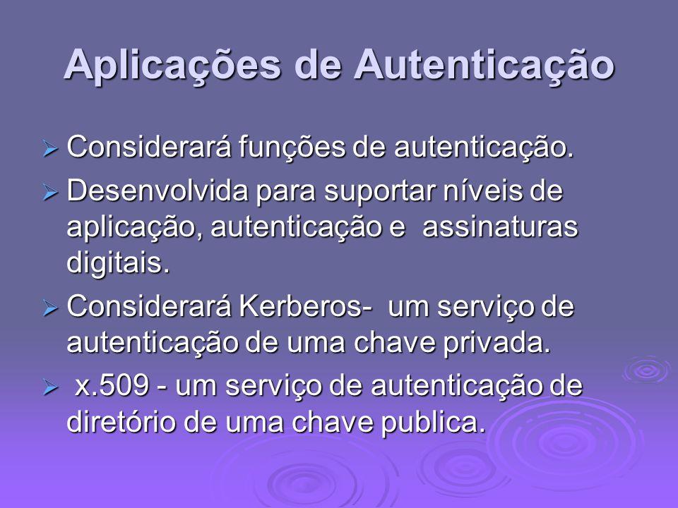 Aplicações de Autenticação Considerará funções de autenticação. Considerará funções de autenticação. Desenvolvida para suportar níveis de aplicação, a