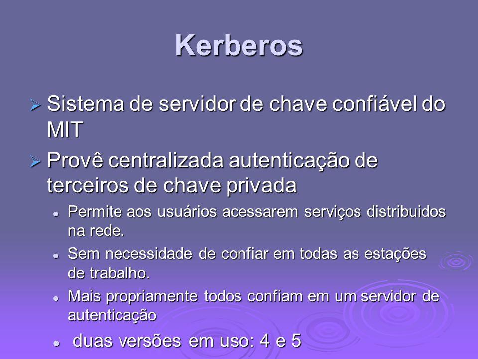 Kerberos Sistema de servidor de chave confiável do MIT Sistema de servidor de chave confiável do MIT Provê centralizada autenticação de terceiros de c
