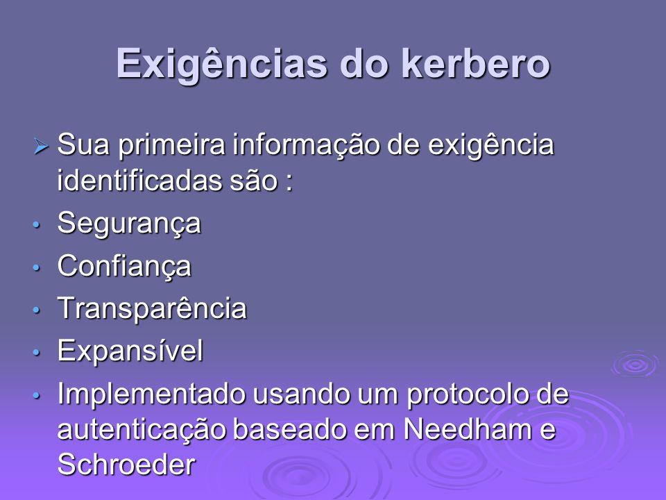 Exigências do kerbero Sua primeira informação de exigência identificadas são : Sua primeira informação de exigência identificadas são : Segurança Segu